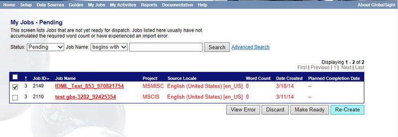 Creating Jobs - Globalsight