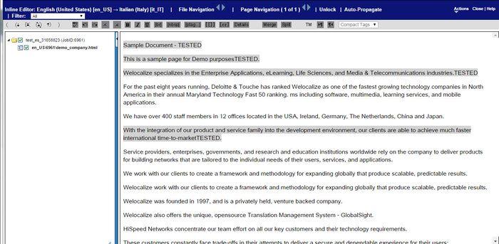 Translating online - Globalsight